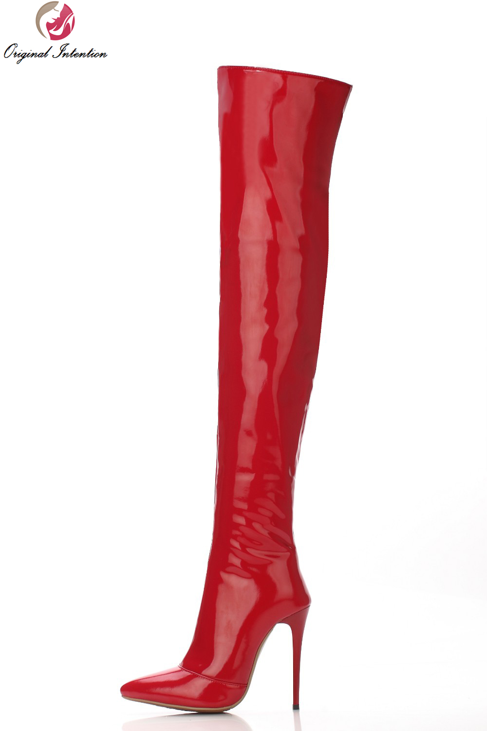 Original Intention New Sexy Women Over Knee Boots Pointed Toe Thin Heels Boots Black Red Shoes Woman US Size 4-10.5 customizable fashion women knee high boots sexy pointed toe thin heels leopard boots shoes woman plus size 4 15