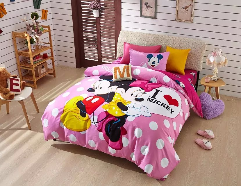 Mickey and Minnie Mouse Polka dot print bedding set childrens girls home textile cotton bedspread twin full queen size bed cover