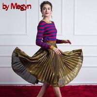 По megyn 2017 осенние женские костюмы модный комплект из двух предметов женские свитера и пуловеры Топ давления плиссированная юбка 2 шт. наряды
