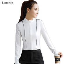 Lenshin Stand Collar Shirt Female White Blouses Elegant Women Wear Long Sleeves Casual Top