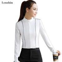 Lenshin Stand Kraag Shirt Vrouwelijke Witte Blouses Elegante Vrouwen Dragen Lange Mouwen Casual Top