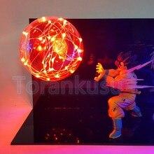 Dragon Ball Z figura de acción Son Goku vs Vegeta Fighting Flash DIY Lamp