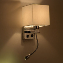цены Modern brief bedside wall lamps 1w led reading light lamp ikea wall bed hose rocker arm Reading wall lighting fabric lampshade