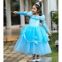 2019 Spring Children Dress Girls Cinderella Aurora Sofia Rapunzel Belle Cosplay Costume Princess Dress 2pcs Outfits Girls Dress
