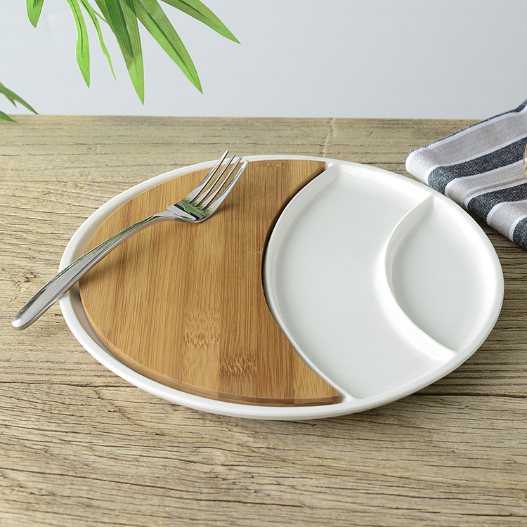 Convenient Ceramic Serving Tray with Bamboo Chopping Board Decorative Porcelain Divisions Dinner Plate Kitchen Tableware Utensil