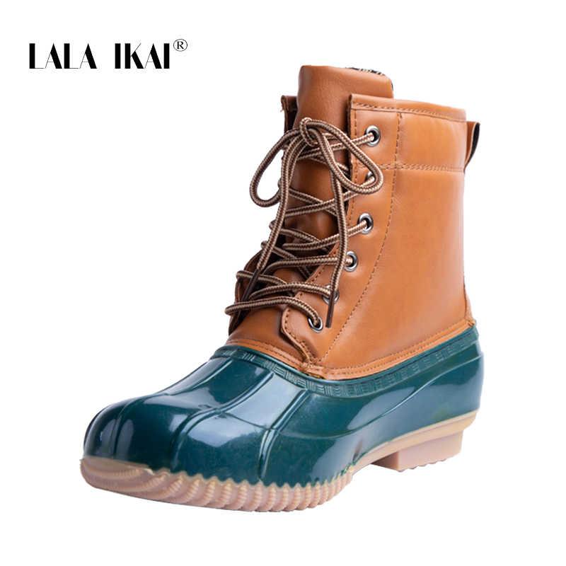 fc0d6f6295a ... LALA IKAI Women Duck Boots PU PU Leather Waterproof Snow Shoes Slip-On  Cross- ...