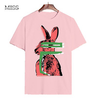 MISSFEBPLUM T Shirt Harajuku Women 2017 Summer Cotton Top Funny Shirts Cartoon Printed Mickey Black And