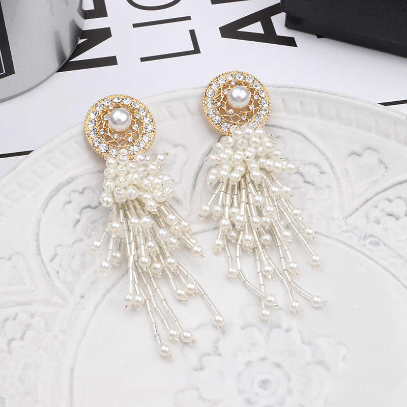 MENGJIQIAO Korean New Vintage Simulated Pearl Tassel Drop Earrings For Women Elegant Shiny Zircon Round Brincos Party Jewelry
