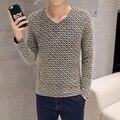 Мужская хлопок плюс бархат футболки мужчин с длинным рукавом зимняя мода V белье воротник Корейский тонкий Футболка футболка бодибилдинг