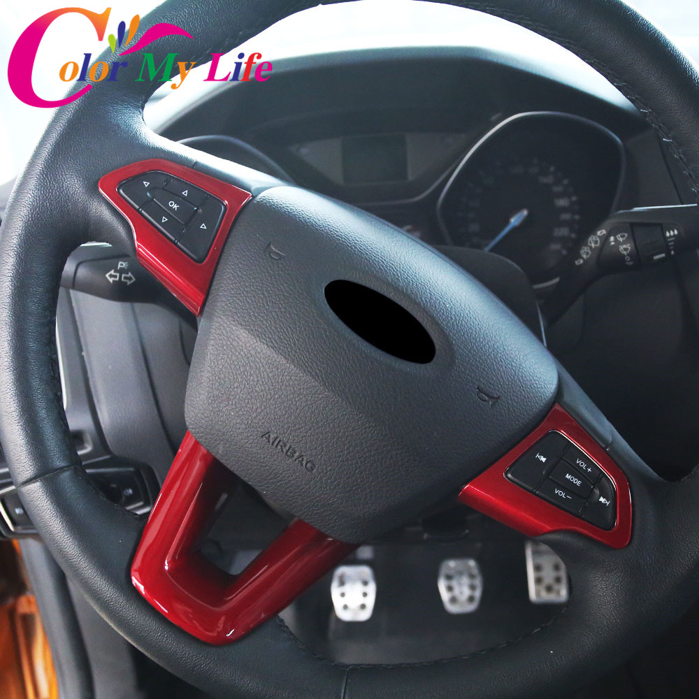 Color My Life ABS Chrome Car Steering Wheel Decoration Trim Stickers For Ford New Focus 3 4 MK3 MK4 2015 - 2018 Accessories