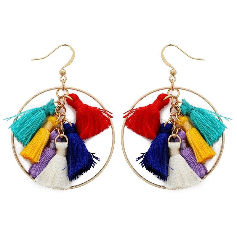 2019 Bohemian Circle Tassel Earrings for Women Colorful Golden Dangle Earrings For Women Summer Accessories in Drop Earrings from Jewelry Accessories