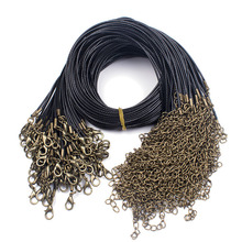 10pcs/lot Antique Bronze/Rhodium/Gold Lobster Clasp Necklace Cords Dia 1.5mm Black Wax Leather Chains With Extension DIY Jewelry