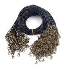 10 adet/grup Antik Bronz/Rodyum/Altın ıstakoz kanca Kolye Kabloları Dia 1.5mm Siyah Balmumu Deri Zincirler Uzatma DIY Takı