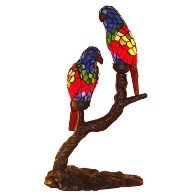 New Vintage Handmade Colorful Glass Birds Parrots Table Lamp for Foyer Bed Room Bar Apartment Glass Night Light H 56cm 1090