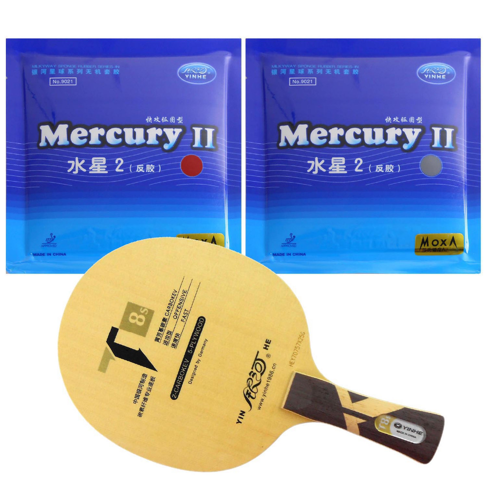 Galaxy YINHE T8s Table Tennis Blade With 2x Mercury II Rubber With Sponge Long  shakehand  FL galaxy yinhe venus 15 table tennis blade with 2x mercury ii rubber with sponge for a ping pong racket long shakehand fl