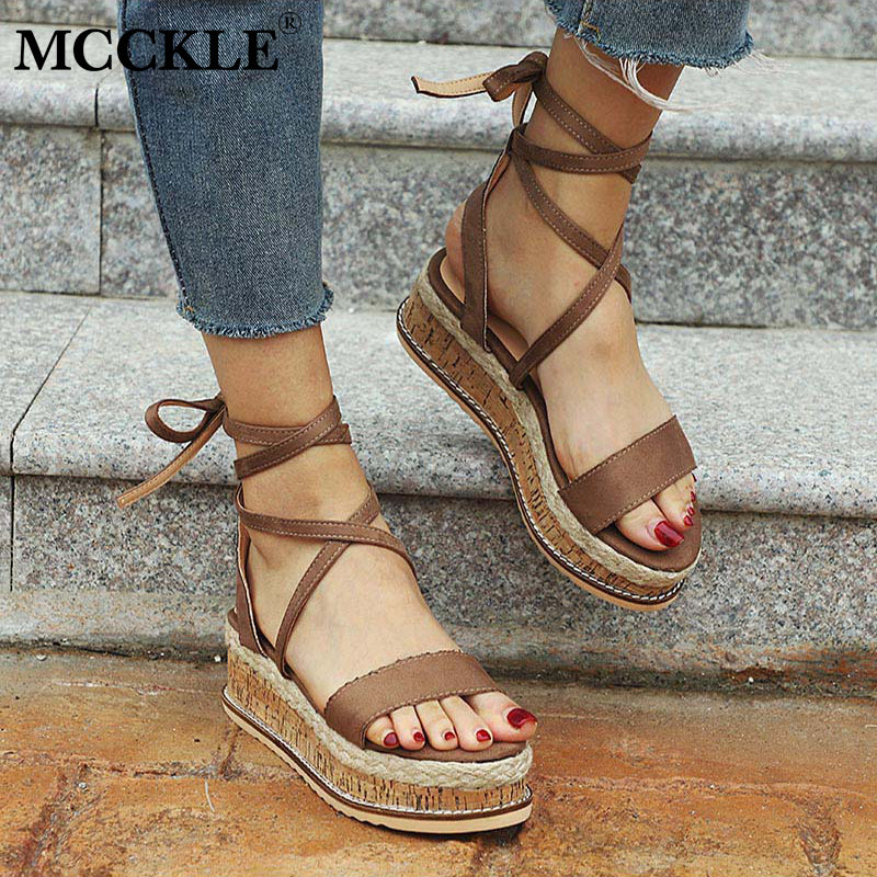 MCCKLE Plus Size Summer Wedges Platform Women Gladiator Sandals High Heels ladies Ankle Strap Straw Rome Shoes Leisure Footwear lenkisen genuine leather big size wedges summer shoes gladiator super high heels straw platform sweet style women sandals l45