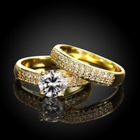 R005 Copper Jewelry Ring Set 18K Gold Plated Ring Couple Ring Set 2pcs For Women Men