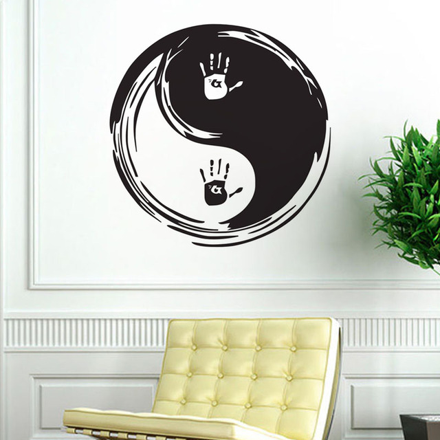 b4038328e5 Yin Yang Wall Stickers Home Decor Handprint Vinyl Art Sticker Removable  Chinese Wall Decals Creative