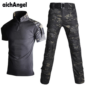 Tactical Military Uniform Summer Short Shirt Army of The Combat Uniform Tactical Pants with Knee Pads Camouflage Hunting Clothes