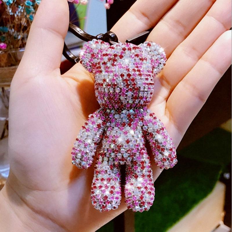 Mignon Bomgom Cristaux De Luxe Popobe Ours Sombre Porte-Clé De Voiture Porte-clés Sac Charme Porte-Clé Chaîne Porte-clés Pendentif Fo-K061-pink