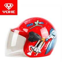 2017, лето, новый yohe дети пол-лица мотоциклетный шлем ребенок электрический велосипед шлемы, изготовленные из ABS и PC объектив козырек YH859S