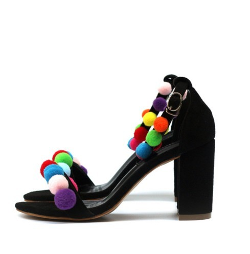 2018 Summer New European and American Style Fleece Open Toe Word Thick with Ball Decoration High-heeled Sandals