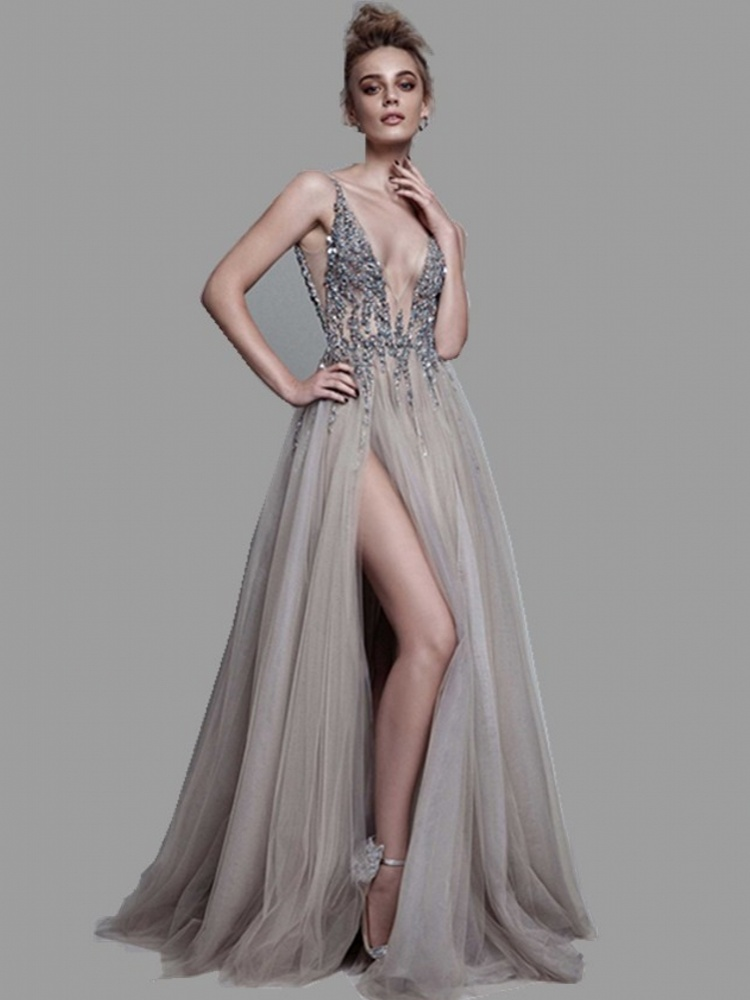 Evening-Dress Sparkly Backless High-Slit See-Through Long Deep Sexy V-Neck Lang Abendkleider