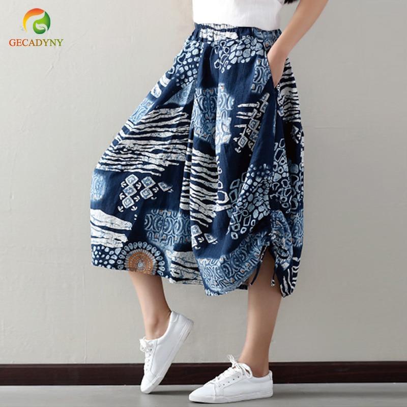 Ethnic Style Print Women Cross   Pants   2019 Casual Fashion Loose Cotton Linen   Wide     Leg     Pants   Spring Summer Elastic Waist Trousers