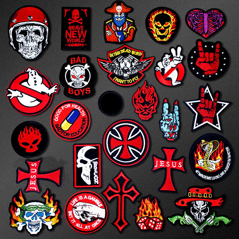 Skull ROCK Hand Cross DIY Cartoon Badges Embroidery Patch Applique Ironing Clothing Sewing Supplies Decorative Patches