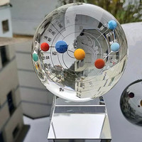 80mm Crystal ball Polished Sphere Feng Shui Glass Ball 12 solar terms solar system planets Craft Home Decor Astrophile Gifts