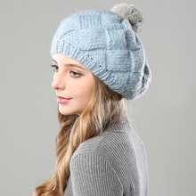 Thick Female Baggy warm Bonnet Fluffy Pompom Ball Hat Women's Knitted Wool Skullies Beanie Soft Cotton Mask Outdoor Fall Winter outdoor plaid velvet baggy beanie