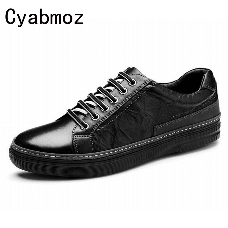 fashion vintage genuine leather mens dress shoes hot sale classic black Italian business male shoe men flats office casual shoes