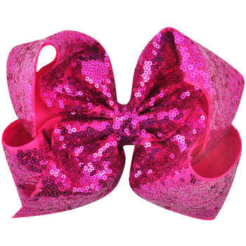 24PCS/LOT 8 inch Children Rainbow Large Hair Bow Sequins Ribbon Hairgrip Alligator Clips Headwear Bowknot Girls Hair Accessories