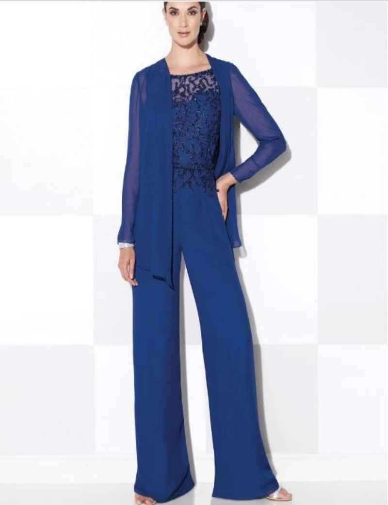 Elegant Wedding Pant Suits - 2016 royal blue elegant mother of the bride pant suits mother of bride pants suits beach wedding party pant suits chiffon