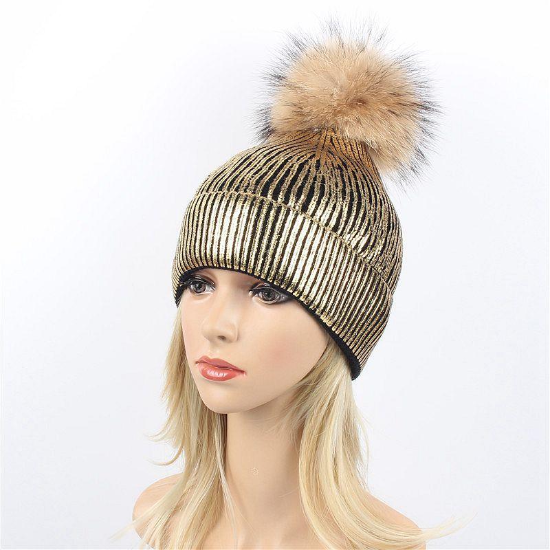 Winter Real Raccoon Fur Pompon Bronzing Gold Knitted Caps Gilding Fur Hats Pom pom Silver Hat Girls knitting   Skullies     Beanies