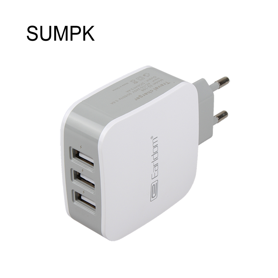 sumpk fast charging 5v 3 4a 3 port usb home travel wall charger ac charger adapter for cell. Black Bedroom Furniture Sets. Home Design Ideas