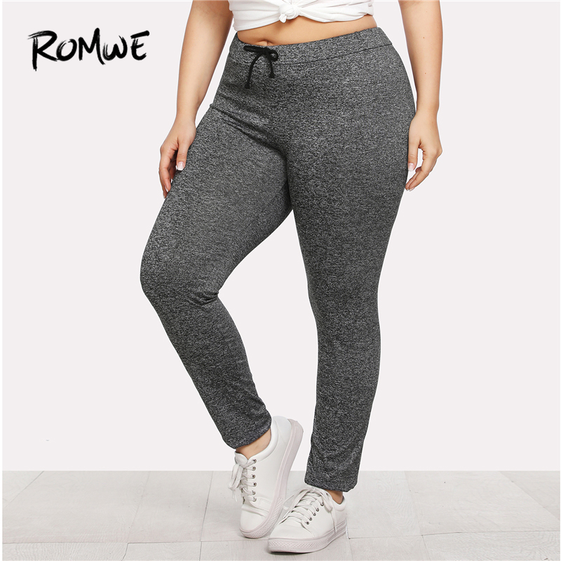 Detail Feedback Questions about Romwe Sport Plus Size Solid Grey Drawstring  Waist Gym Sports Pants Women Yoga Tights 2018 Autumn Female Fitness Yoga ... 844e0e06d72e