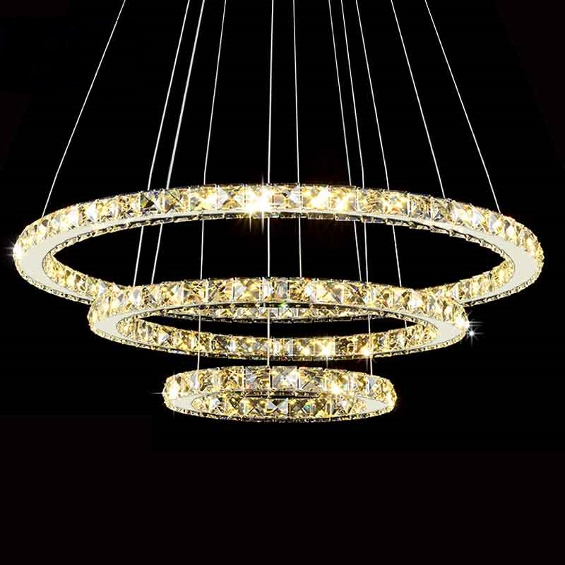Modern LED Diamond Ring Chandeliers Chrome Mirror Finish ...