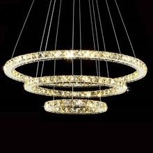 Moderne LED Diamant Ring Kronleuchter Chrom Edelstahl Hochglanzpoliert Zimmer Hängelampe LED Kronleuchter Lüster