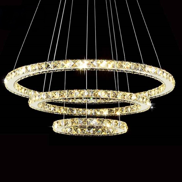 Modern Led Diamond Ring Chandeliers Chrome Mirror Finish