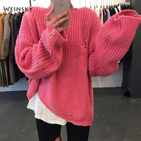 Weinsky Women Knitted Oversized Pink Sweater And Cardigans Women Jumpers Sweaters White Korean Cozy Sweater Zipper