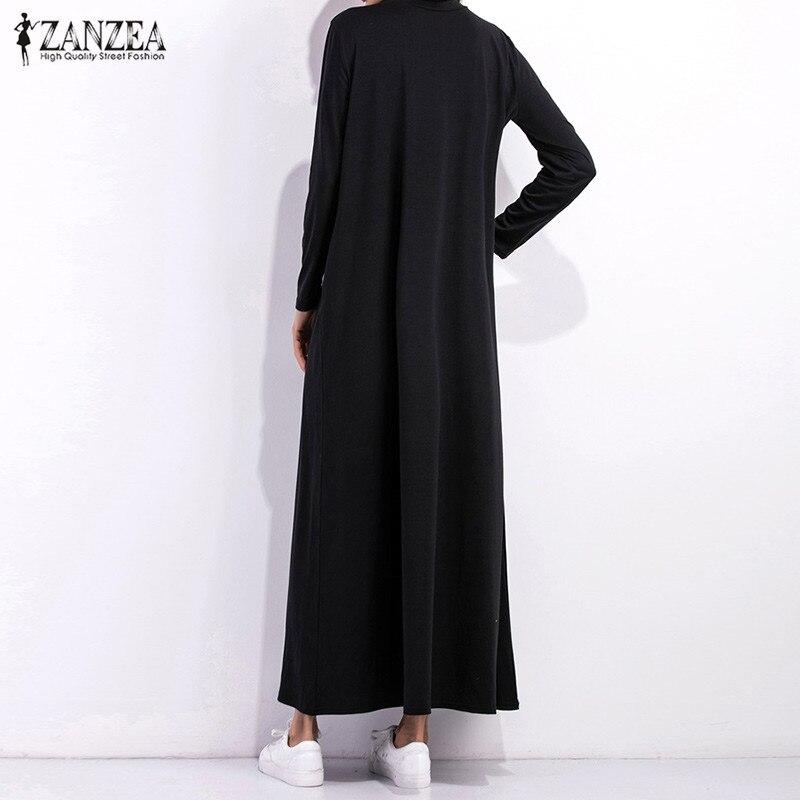 6728fc30690 Automne robe 2019 femmes robe noire à manches longues col roulé longues  Maxi robes dames lâche décontracté Simple Vestidos dans Robes de Mode Femme  et ...