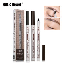 Music Flower Brand Makeup 4 Colors Fine Sketch Liquid Eyebrow Pen Waterproof Tattoo Super Durable Eye Brow Pencil Smudge-proof(China)