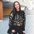 Simplee flor Del Bordado mujeres del suéter con capucha jumper manga Larga jerseys O-cuello Ocasional chándal 2017 summer streetwear