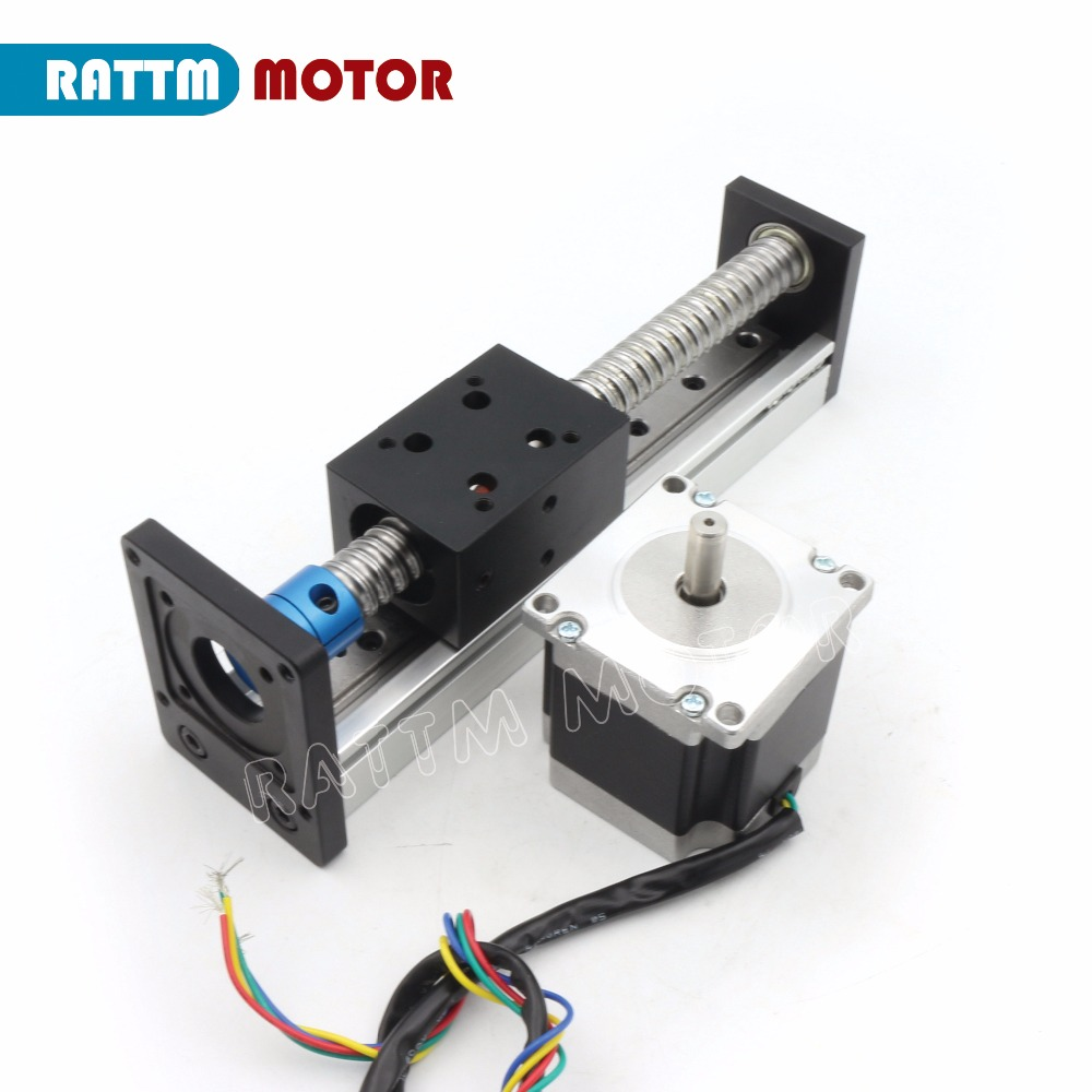 EU Ship! CNC CBX1605 Ballscrew Linear Slide Stroke 100/200/300mm Stage Actuator&Nema23 Stepper Motor for XYZ Axis Linear motion