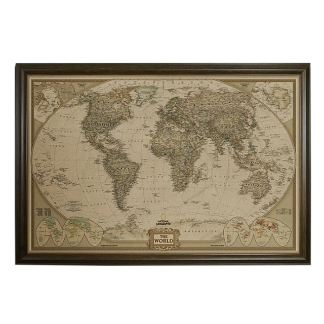 Executive World Push Pin Travel Map With Black Frame And Pins - World travel map with pins and frame