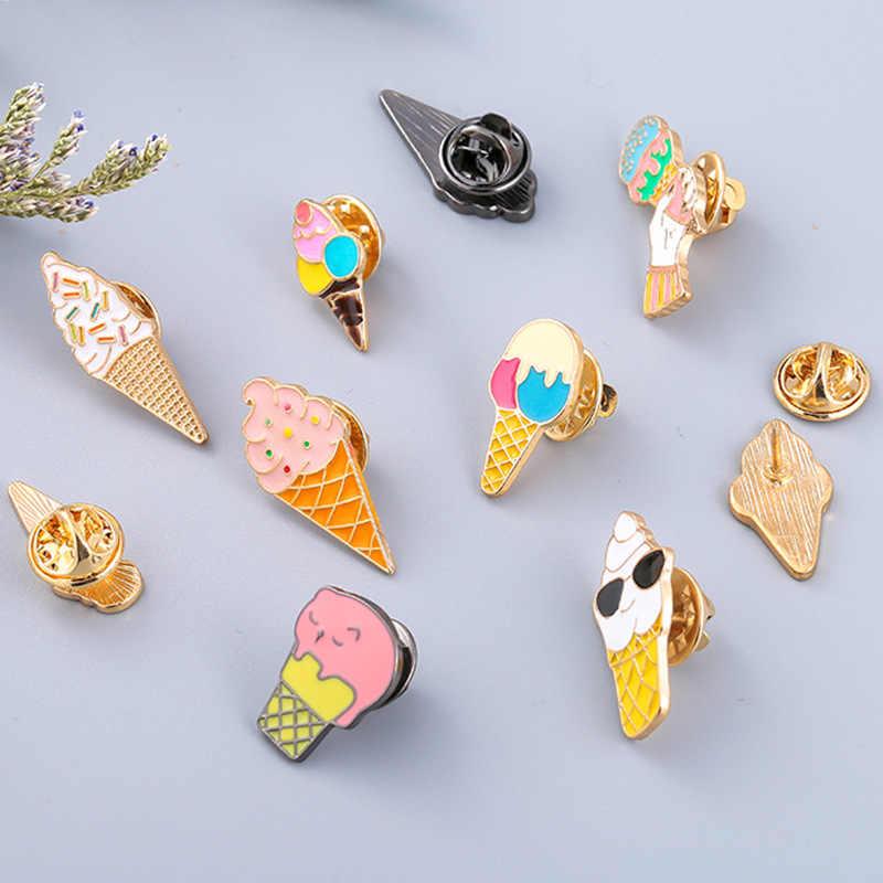 1 個夏ビーチ漫画食品アイスクリームブローチ金属エナメルピンバッジブローチ女性のための男性シャツラペルピンファッションジュエリー