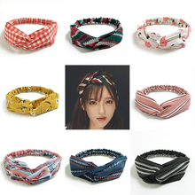 цена на New Top Knot Turban Headband Floral Elastic Hairband Head Hoop Striped Hair Accessories for Women Girls Twisted Knotted Headwrap