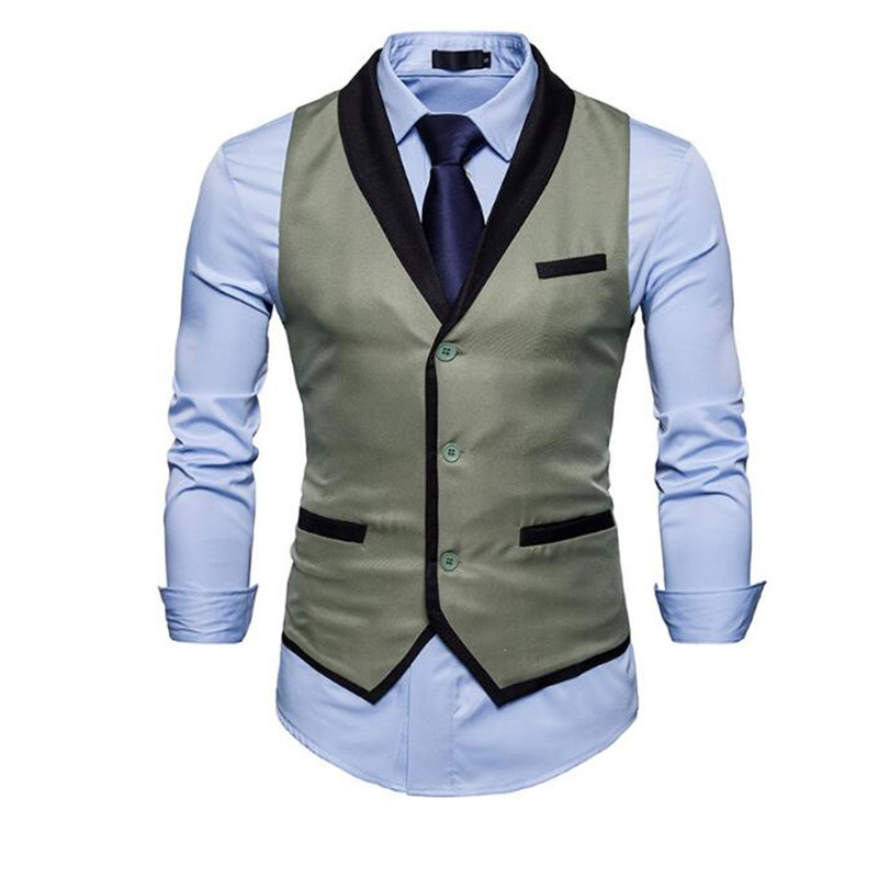4-1 New men\`s autumn fashion men\`s suit vest color matching gentleman Slim male vest
