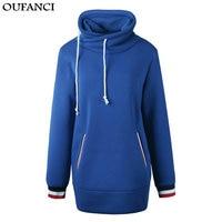 OUFANCI 2017 Autumn Women Black Hoodie Plus Size Oversized Hoodie Blue Hip Hop Cropped Warm Fleece Female Hooded Sweatshirts